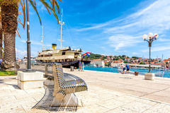 Trogirska riva. Trogir seafront where you can enjoy view to sea and marina Royalty Free Stock Photo