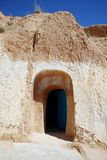 Troglodyte communities door. Matmata, Tunisia. The largest region of the troglodyte communities. One of many dwellings - fragment of courtyard excavated in the Royalty Free Stock Photo