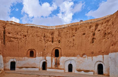 Troglodyte homes in Matmata. Scenic view of Troglodyte Berber cave dwellings in Matmata, Tunisia Stock Images