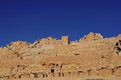 Troglodytic village in the desert Royalty Free Stock Photo
