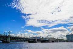 Troickiy bridge in St. Petersburg. View of Troickiy bridge over the river Neva in St. Petersburg. Landmark, St. Petersburg, one of the most famous bridges in Stock Image