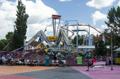 Troika and roller coaster at Adventure Park Stock Photo