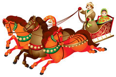 Troika, traditional Russian harness driving. Combination, three horses pulling a sleigh, Winter holidays, new year, Christmas,  image Royalty Free Stock Images