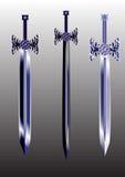 Trois épées d'isolement Images stock