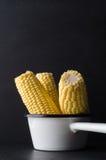 Trois épis de maïs doux dans la casserole blanche d'Enamal Images stock