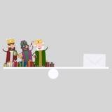 Trois équilibres magiques de rois et de cadeaux 3d Photos libres de droits