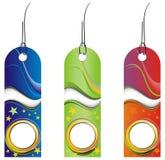 Trois étiquettes colorées Photo libre de droits