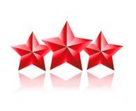 Trois étoile rouge 3D Images libres de droits