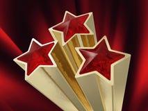 Trois étoiles rouges Photos libres de droits