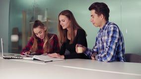 Trois étudiants travaillant à leur travail se reposant ensemble à la table et au café potable Groupe des jeunes sur banque de vidéos