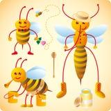 Trois abeilles heureuses Images libres de droits