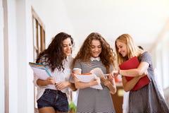 Trois adolescentes dans le hall de lycée pendant la coupure Photo stock