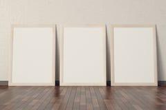 Trois affiches avec un cadre en bois illustration de vecteur