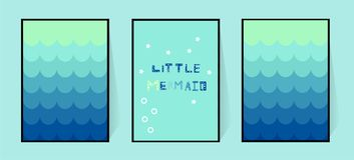 Trois affiches avec une queue bleue de gradient de sirène Décoration de mur dans la crèche ou la salle de bains pour des filles I illustration stock