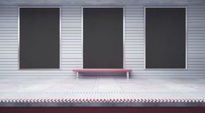 Trois affiches vides dans le souterrain illustration stock
