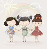Trois amie heureux Photos stock