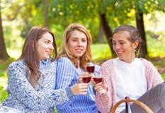 Trois amies buvant du vin Images libres de droits