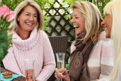 Trois amies mûres avec des verres de vin mousseux Images stock
