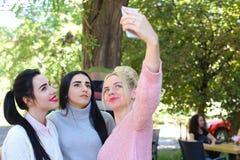 Trois amies merveilleuses de jeune fille font le selfie, photo sur le pho Photo stock