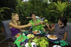 Trois amis à un barbecue Photos libres de droits