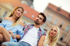 Trois amis ayant l'amusement Images libres de droits