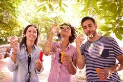 Trois amis ayant l'amusement avec des bulles Photo stock