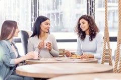 Trois amis bavards causant au café Photos libres de droits