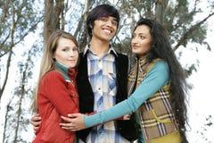 Trois amis dans la forêt Photos stock