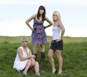 Trois amis féminins à l'extérieur Images stock