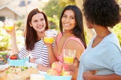 Trois amis féminins appréciant le repas à la partie extérieure Photo libre de droits