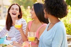 Trois amis féminins appréciant le repas à la partie extérieure Photos libres de droits
