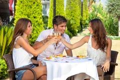 Trois amis grillant tout en prenant le déjeuner dehors Image stock