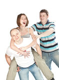 Trois amis heureux. Image libre de droits
