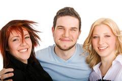 Trois amis heureux Images stock