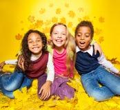 Trois amis heureux dans les feuilles d'érable Image libre de droits