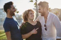 Trois amis masculins parlant ensemble rire d'extérieur Photo stock