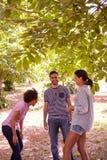 Trois amis plaisantant et riant ensemble image libre de droits