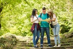 Trois amis regardant une carte dans la forêt Images stock