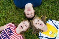 Trois amis s'étendent sur une herbe Image stock