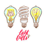 Trois ampoules différentes Photographie stock libre de droits
