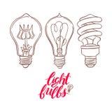 Trois ampoules différentes de croquis Photos libres de droits