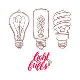Trois ampoules différentes de croquis Image stock