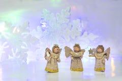 Trois anges en bois Image libre de droits
