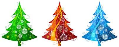 Trois arbres de Noël Images libres de droits