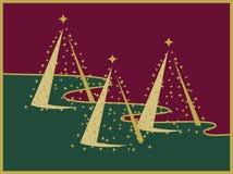Trois arbres de Noël d'or sur l'horizontal rouge et vert Photographie stock libre de droits