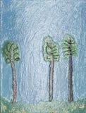 Trois arbres sur le bord d'une forêt. illustration stock