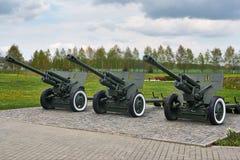 Trois armes à feu d'artillerie de la deuxième guerre mondiale Photo libre de droits