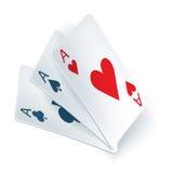Trois as dans des cartes de jeu Images stock