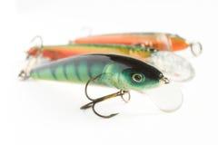 Trois attraits de pêche Photographie stock libre de droits