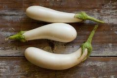 Trois aubergines blanches Image libre de droits
